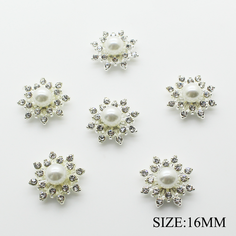 10pcs/lot 16MM Alloy Pearl Buttons Rhinestone Buttons For Clothing Snap Flat Back Fabric Buttons For Wedding Hair Tie Decorative