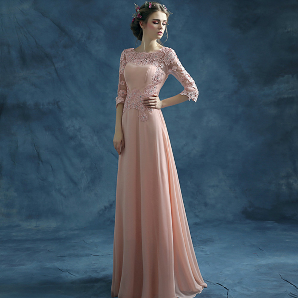 Wedding Long Evening Gowns online shop tsjy270 cheap fast delivery long evening gowns lace dresses half sleeves chiffon pink formal party d