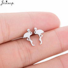 Jisensp Cute Animal Flamingo Stud Earrings for Women Stainless Steel Birds Earring Wedding Jewelry Gift pendientes hombre(China)