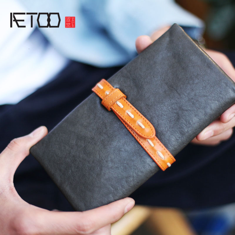 AETOO New long paragraph simple draw with hand retro leather soft leather wallet lady wallet male matte Vintage wallet : 91lifestyle