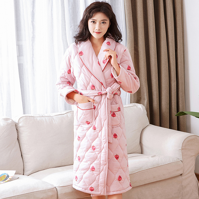 b43e7bcb5f Plus size M-3XL kimono women pajamas winter robe cotton knited bathrobe  three-layer quilted thick long robe female homewear