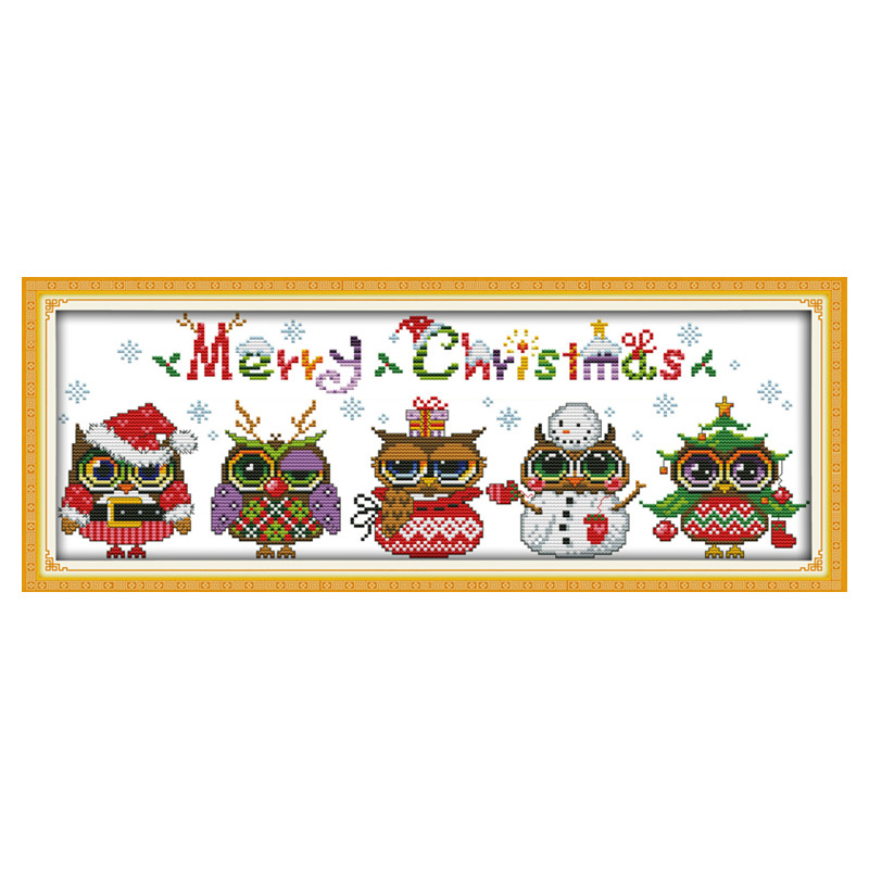 Cinco corujas de Natal DMC Cross Stitch 11CT 14CT DIY Needlework Contados Cross Stitch Kits para Bordados Artesanato Passatempo Home decor