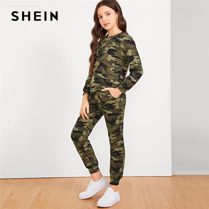 SHEIN Kiddie Camouflage Print Pullover And Pants Girls Suit Set Kids 2019 Summer Active Wear Long Sleeve Casual Clothes Suits