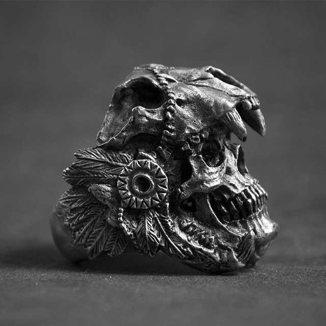 STAINLESS STEEL INDIAN WARRIOR SKULL RINGS