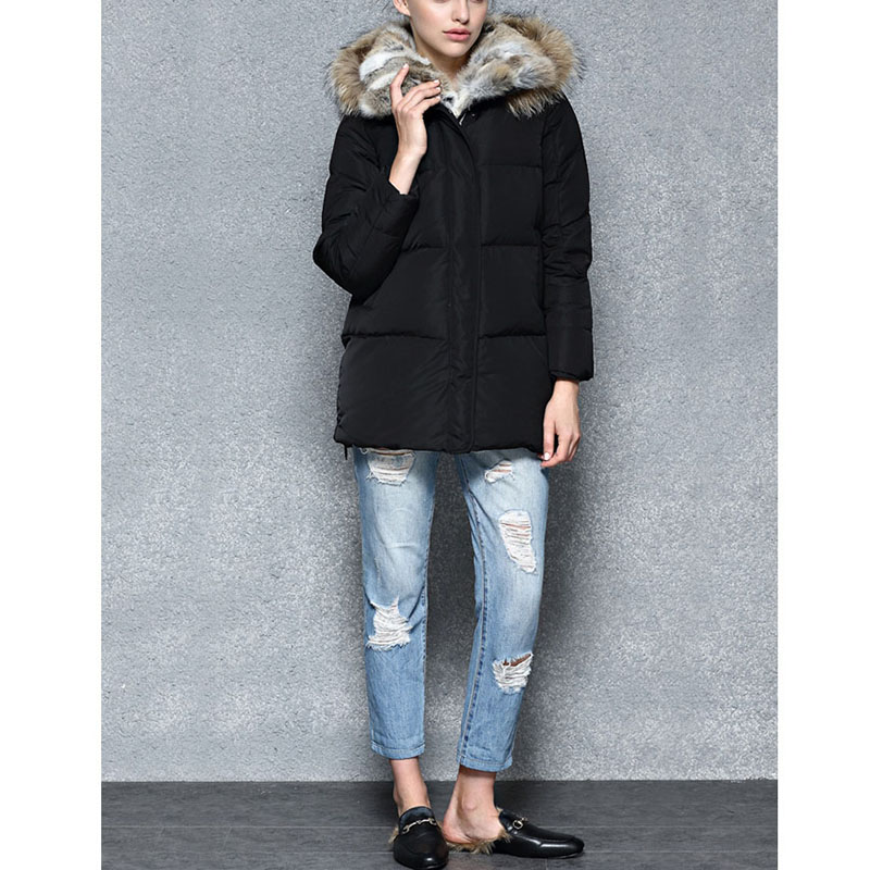 Women down jacket 2018 Winter High-end overcoat Real fur collar hooded jacket Thicken Duck Down winter warm down jacket coat