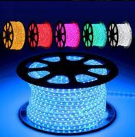 Супер яркость 3 чипа/led 220 V Fexible 5050 110 V rgb Светодиодная лента с контроллером 100 м/рулон