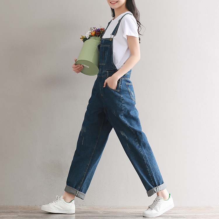 2019  Artistic wash denim cotton suspenders for girls with wide legs (12)