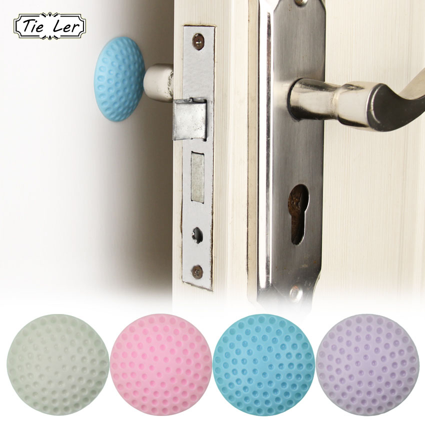 2 PCS Wall Thickening Mute Golf Modelling Rubber Fender The Handle Door Lock After Protective Pad Wall Stickers
