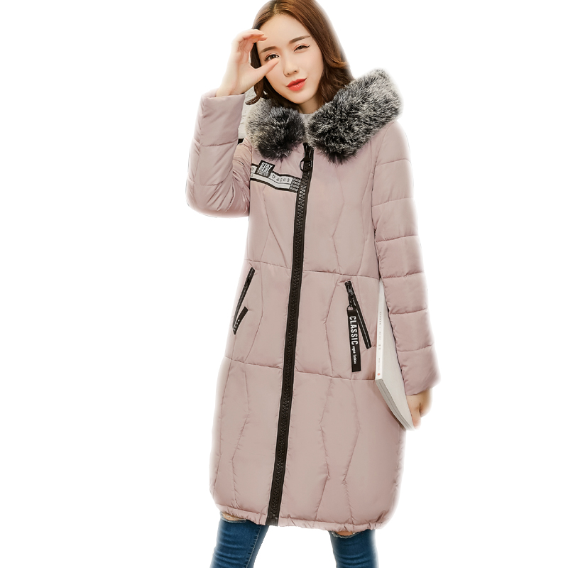 SWENEARO New Women's Long jacket with big Faux Fur collar Warm Puffer Coat Thickened Cotton Hooded Winter Parka Outwear Fur Trim faux rabbit fur brown mr short jacket sleeveless with big raccoon collar fall coat