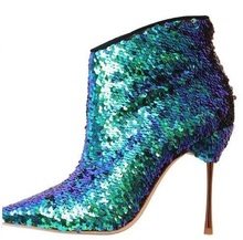 Fashion Multicolor Sequin-Embellished Ankle Boots Women Metallic Leather Gold-tone Stiletto Heels Bootie Pointed toe Side Zipper