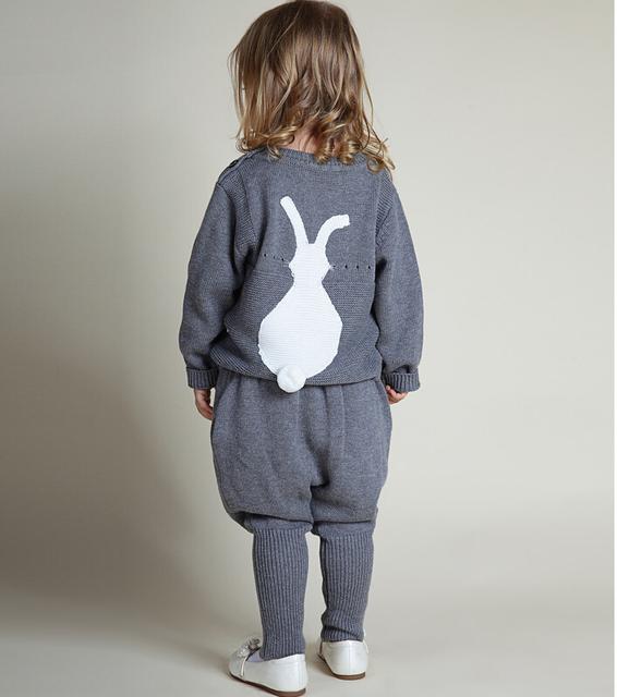 1-5 Anos Meninas Camisola de Inverno Crianças Coelho Crianças Bebês Meninos Blusas de Malha Roupas Casuais 3 Cores