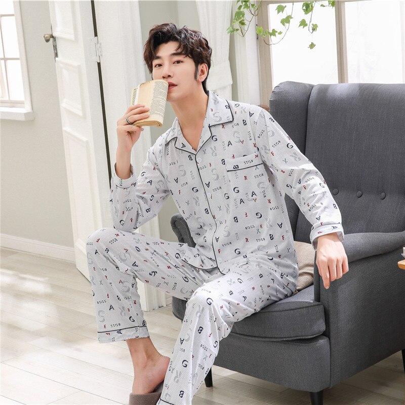 2019 Frühling Männer Pyjamas Langarm Männer Pyjama Sets Strickjacke Casual Nachtwäsche Mode Pyjamas Plus Größe Hose Set Homewear üBerlegene Leistung