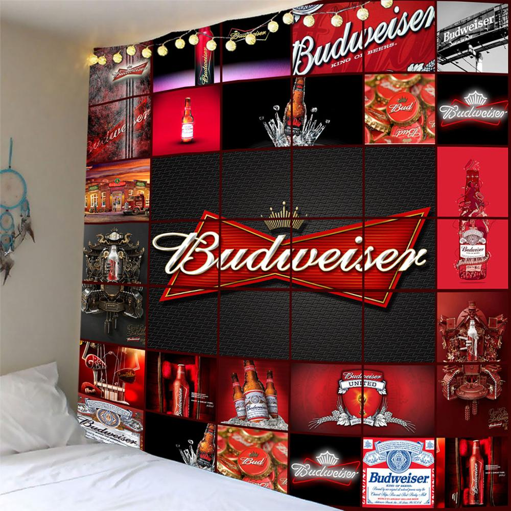 Beer Tapestries Wall Hanging Skull Printed Tapestry Camping Tent Travel Sandy Beach Throw Bed Sheet Customized