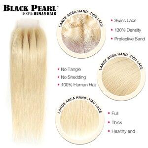 Image 4 - Пряди из черного жемчуга медового блондинка с застежкой бразильские Прямые Человеческие волосы Remy 613 пряди с застежкой Бесплатная доставка