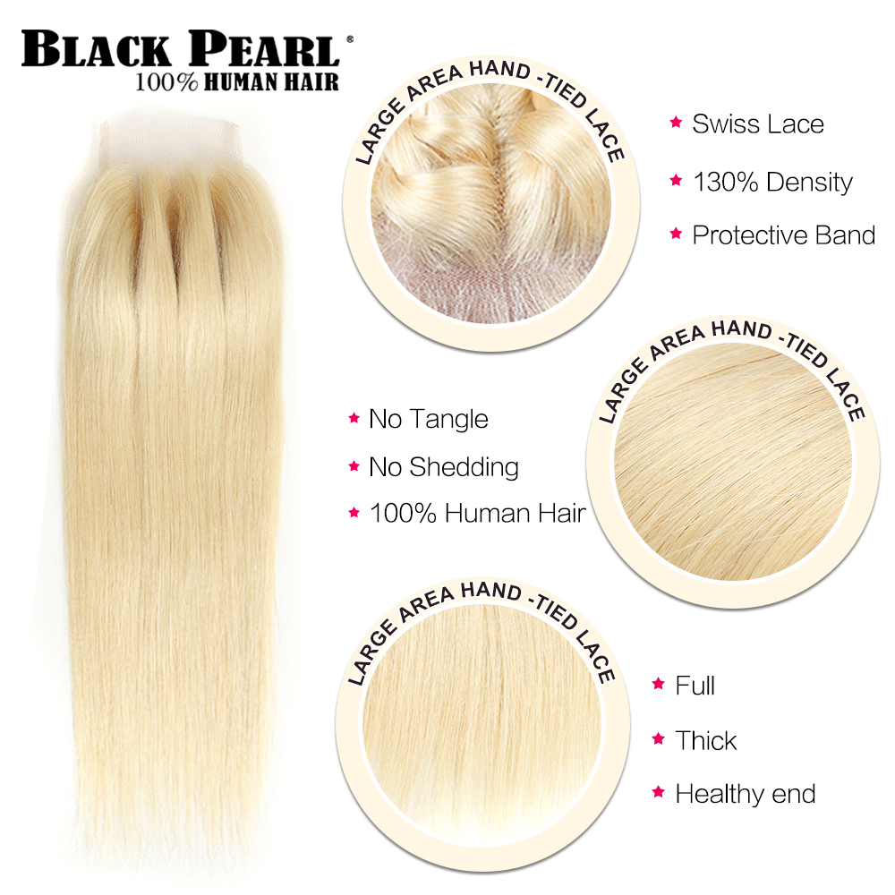 Black Pearl Honey Blonde Bundles With Closure Brazilian Remy Straight Human Hair 613 Bundles With Cl