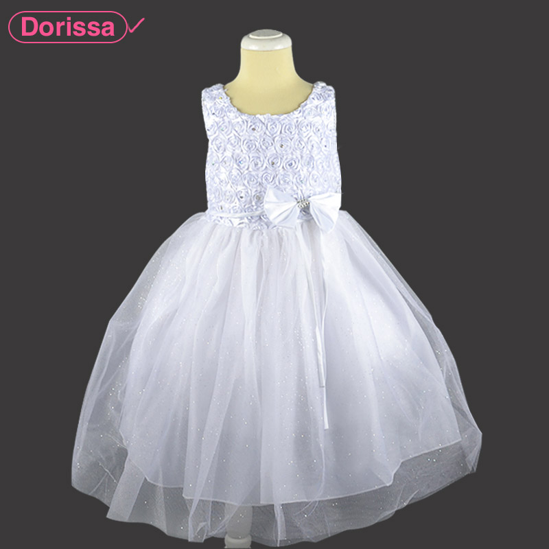 2016 White Princess Little Girl Party Dresses Wedding Toddler Baby Kids Frock Designs Prom Tutu Formal Dress Beading 4-7T Q226