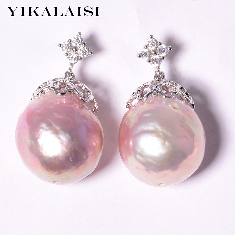 YIKALAISI 925 sterling silver Jewelry for women 100% real pearl Jewelry Baroque earrings 12-13 natural pearl jewelry 2018 gifts 2017 new 100% genuine natural long earrings fashion jewelry for women 925 sterling silver pearl jewelry double earrings gifts