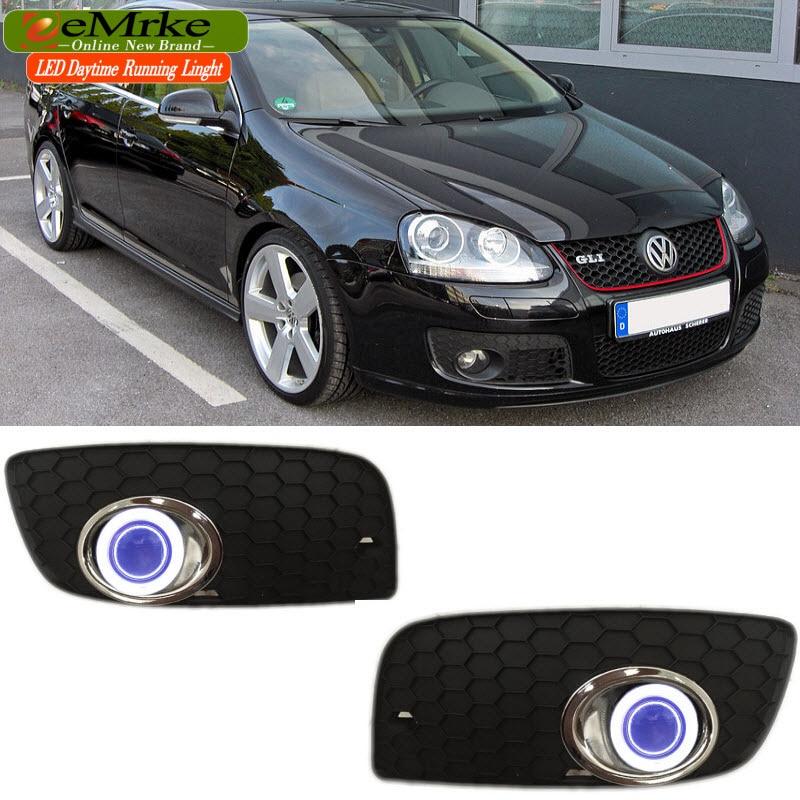 eeMrke LED Angel Eyes DRL For Volkswagen VW Jetta GLI GTI Daytime Running Lights Tagfahrlicht Halogen Bulbs H3 55W Fog Lights