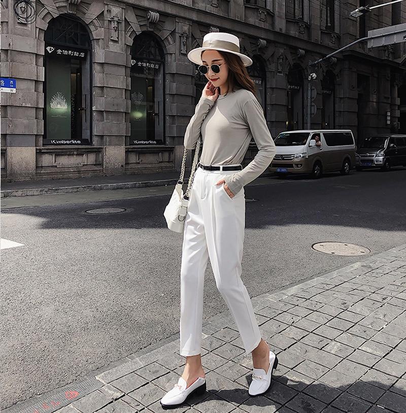 BGTEEVER OL Style White Women Pants Casual Sashes Pencil Pant High Waist Elegant Work Trousers Female Casual pantalon femme 18 4