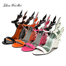 Women Wedges Sandals High Heels Casual Shoes Woman Large Gladiator Newest Orange Flame Wings