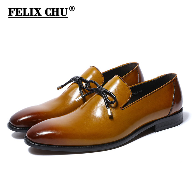 FELIX CHU 2018 Spring New Design Genuine Leather Men Dress Shoes Slip On Wedding  Party Man Yellow Formal Loafers With Bow Tie aa9e859f400f
