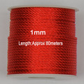 1mm Red Twisted Satin Nylon Cord+Jewelry Accessories Macrame Rope Shamballa Bracelet Necklace Chinese Knot String Cords 60m/roll
