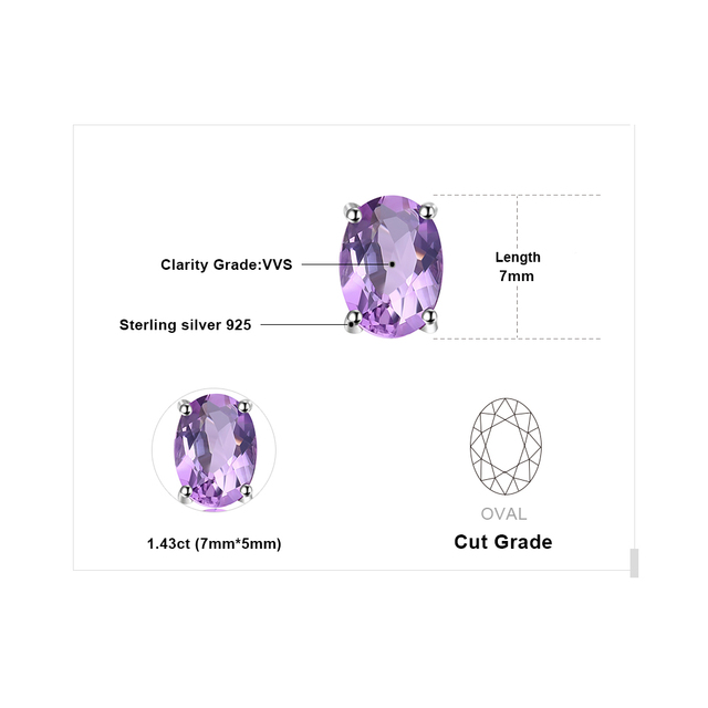 Natural Purple Amethyst Stud Earrings
