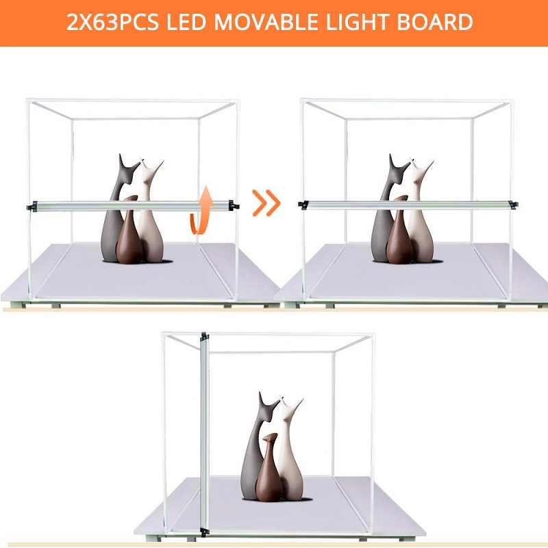 Travor Lampu Kotak 60*60 Cm Portable Softbox Studio Foto LED Lightbox dengan 3 Warna Latar Belakang untuk Meja Fotografi lampu LED