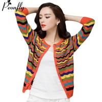 PEONFLY Autumn Winter Knitwear Cardigan Fashion Runway Designer Sweater Women Knitted Sweater Block Jumper