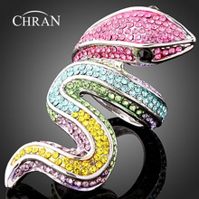 Chran Unique Rhodium Plated Animal Pattern Women Jewelry Fashion Charm Snake Design Crystal Engagement Rings For Gifts