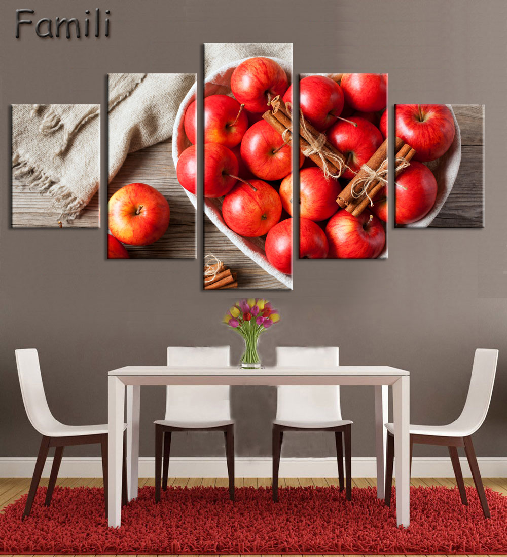 US $9.41 34% OFF|Canvas painting 5 panel Restaurant Fruits Orange grape  green apple wall art Modern Modular pictures On for kitchen decor poster-in  ...