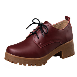 Image 4 - OUKAHUI Spring\Winter British Style Leather Shoes Women Square Heel Flat Platform Shoes Woman Lace Up Oxford Shoes For Women