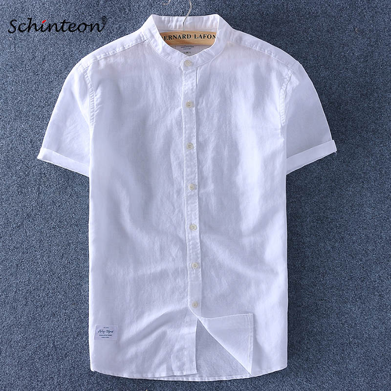 2019 Men Cotton Linen Shirt Short Sleeves Thin Top Slim Casual Shirts High Quality Stand Collar 6 Colors