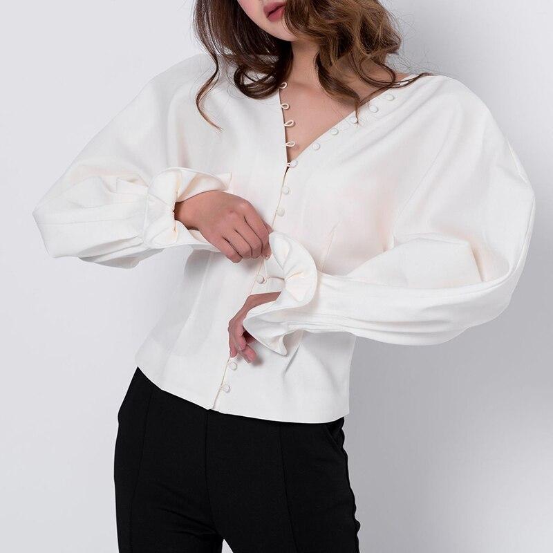 2018 printemps blanc chic sexy col en v wrap blouse designer de haute qualité à manches longues femme vintage baggy chemise hauts