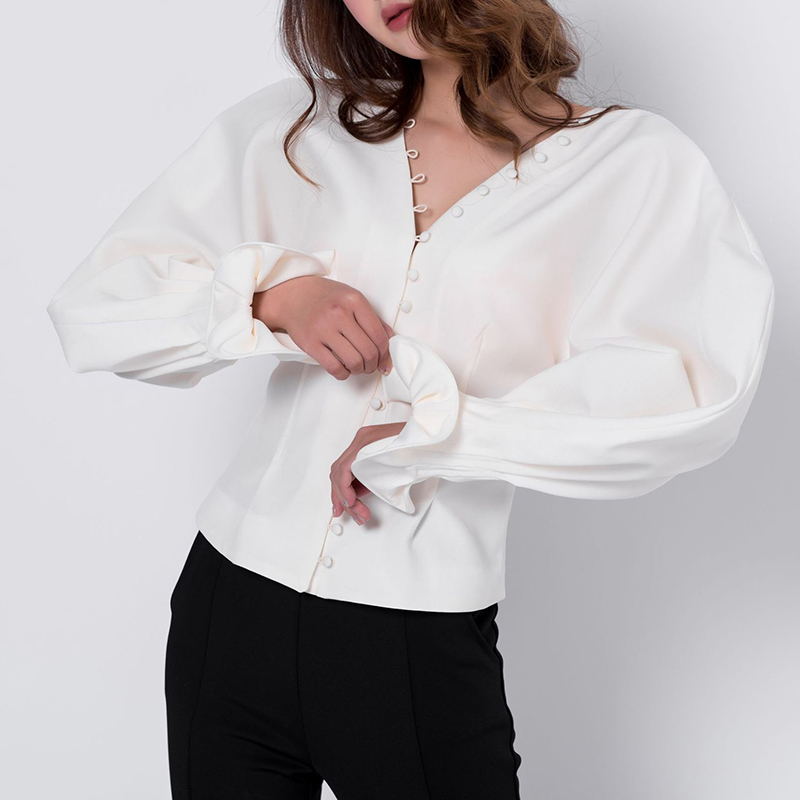 2018 spring white chic sexy v neck wrap blouse designer high quality long puff sleeve female vintage baggy shirt tops ...