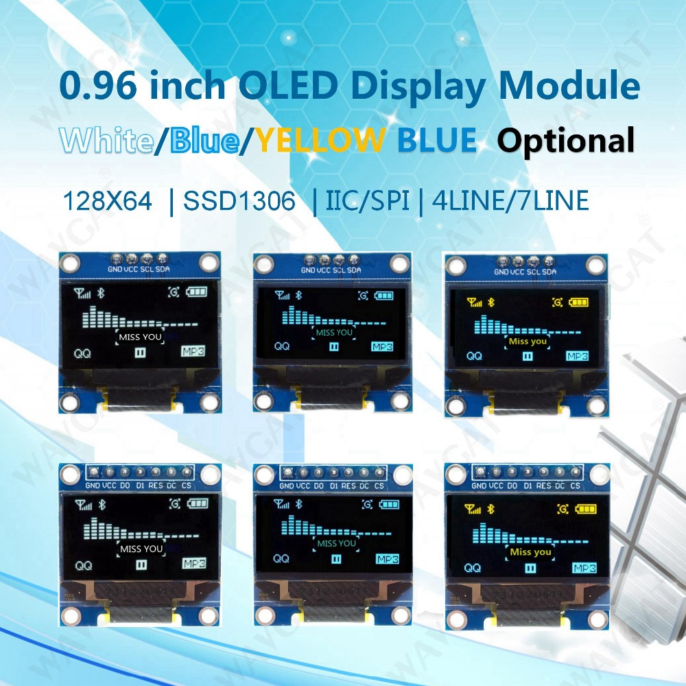 WAVGAT Blue White color 128X64 Yellow Blue <font><b>OLED</b></font> LCD LED <font><b>Display</b></font> Module For Arduino 0.96 inch <font><b>I2C</b></font> IIC Serial new original image