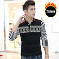 2017 Autumn Printing Mens Dot Long Sleeve POLO Shirts  Long Sleeve Camisas Polo Stand Collar Male Polo Shirt Striped sleeves Spl