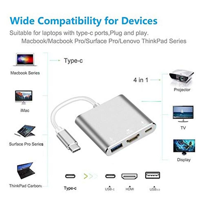 Baolyda USB C Dock HDMI Type C to HDMI Hub Adapter 4K USB C Multiport Adapter USB C Converter for MacBook/Chromebook Pixel/Dell 3
