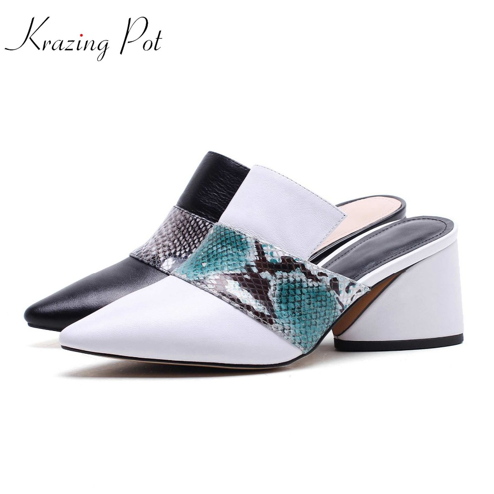 Krazing pot 2018 new genuine leather fashion brand shoes pointed toe runway mules square high heels mixed color women pumps L25 krazing pot 2018 cow leather simple design breathable high heels hollow women pumps round toe brown white color brand shoes l92