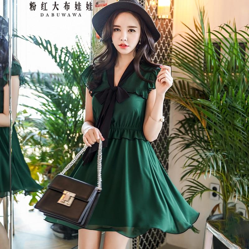 Dabuwawa nouveau été sans manches col en v arc robe femmes vert élégant mince balançoire ourlet robe courte D18BDR197