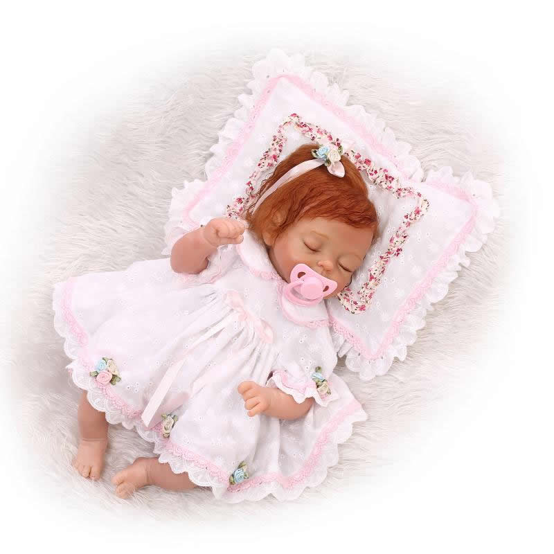 Truly Real Baby Doll Reborn Sleeping Girl Silicone Newborn Babies 17 Inch Cloth Body With Curved Mohair Kids Birthday Xmas Gift pink girl baby dolls lifelike silicone babies 20 inch newborn cloth body doll toy with sleeping eyes kids birthday xmas gift