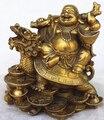 Бесплатная доставка 0 Китайский медный богатство деньги счастливый смех Maitreya Будда на Статуя Дракона черепахи