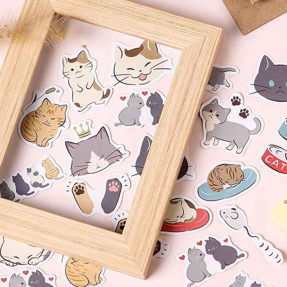 45Pcs Cute Cat Bears Stickers Kawaii Stationery DIY Scrapbooking Diary Stickers