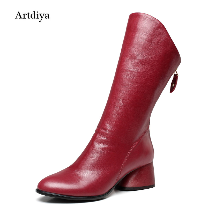 2017 New Women Boots Head Layer Cowhide Leather Boots Handmade Retro Minimalist Genuine Leather Mid-Calf Boots Black/Red 898B-8 stylish women s mid calf boots with solid color and fringe design