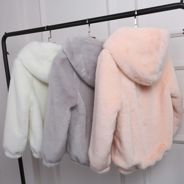 Women's Faux Fur Hooded Winter Coat Jacket Warm Thick Solid Long Sleeve Spring Jackets Women Zipper Outwear Female Dropshipping