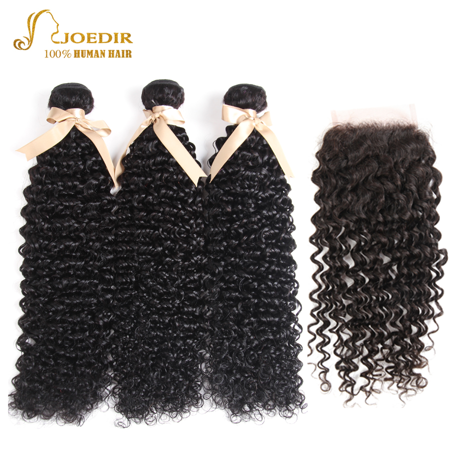 Joedir Brazilian Kinky Curly Bundles With 4*4 Closure Curly Remy Brazilian Human Hair Weave 3 Bundles With Closure Free Shipping