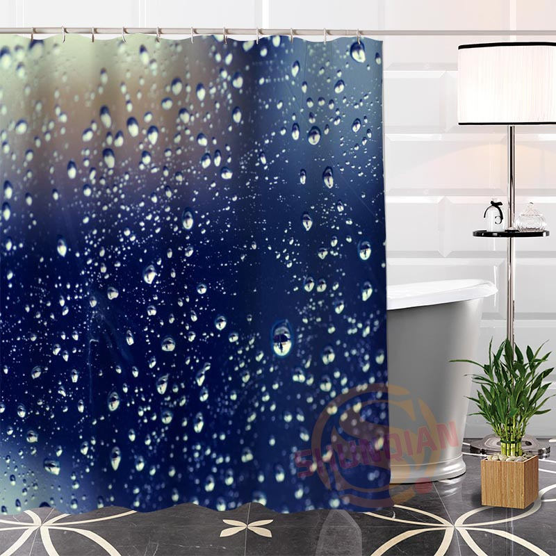 Popular Modern 100% Polyester Custom raindrop@1 Fabric Shower Curtain bathroom Waterproof High Quality Hot H0223-87 ...