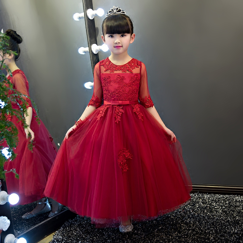 Hot-Sales Baby Kids Elegant Wine-red Birthday Wedding Party Princess Lace Dress Teens Children Half-Sleeves Piano Pageant Dress