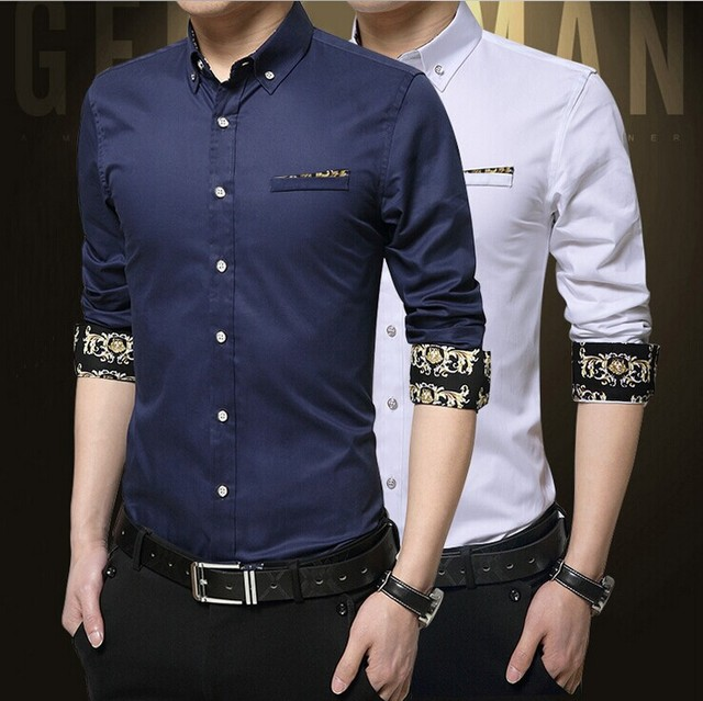 2017 New Fashion Business Male Cotton Large Size Solid Color Long Sleeve Shirt Slim Formal Camisa Mens Clothes AM