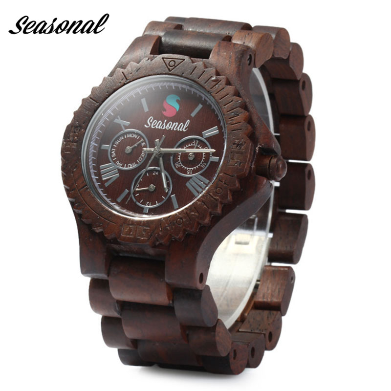 Top Brand Seasonal Designer Mens Sandalwood Watch Zabra Wooden Quartz Watches Japan Movement for Men Watch in Gift Box bobo bird mens watch red sandalwood analog wooden quartz wrist watches with luxury watch famous brand in gift box free shipping
